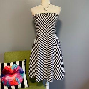 WHBM Striped Strapless Flared Dress C3